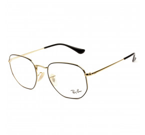 Ray Ban Hexagonal RB6448 Preto/Dourado 2991 54mm - Óculos de Grau