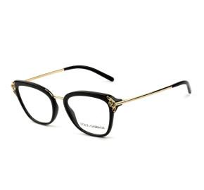 Dolce & Gabbana DG5052 - Preto/Dourado 501 52mm - Óculos de Grau