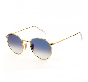 Ray Ban Round Metal RB3447-NL Dourado/Azul Degrade 001/3F 53mm - Óculos de Sol