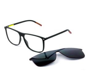 Tommy Hilfiger TJ0017/CS Preto Fosco Grau/Clip-On Cinza 00399 58mm - Óculos de Sol