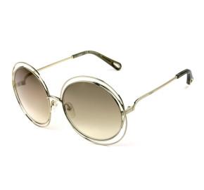 Chloé CE 114SD - Óculos de Sol 777 Dourado Semi Espelhado Lentes 58mm