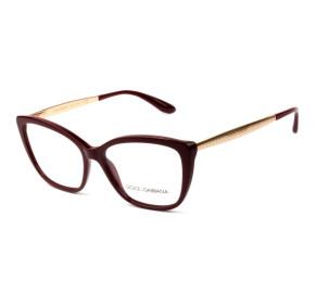 Dolce & Gabbana DG3280 - Óculos de Grau 3091 Vinho/Dourado Lentes 54mm