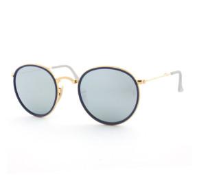 Ray Ban Round Dobrável RB3517 - Dourado/Cinza Espelhado 001/30 48mm - Óculos de Sol