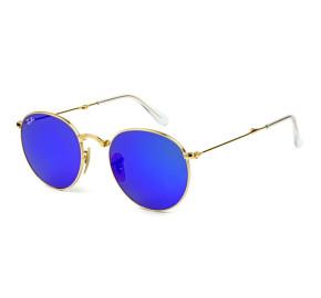 Ray Ban Round Dobrável RB3532 - Dourado/Azul Espelhado 001/68 50mm - Óculos de Sol