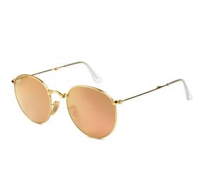 Ray Ban Round Dobrável RB3532 - Dourado/Rose Espelhado 001/Z2 50mm - Óculos de Sol