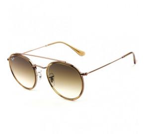 Ray Ban Round Ponte Dupla RB3647N - Dourado/Marrom Degradê 9070/51 51mm - Óculos de Sol
