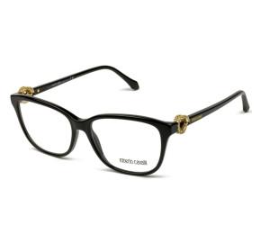Roberto Cavalli Sadalachbia 950 - Preto Brilho/Dourado 001 54mm - Óculos de Grau