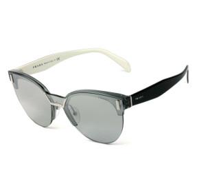 Prada SPR 04U - Óculos de Sol 283-1A0 Preto e Braco/Cinza Espelhado Lentes 43mm