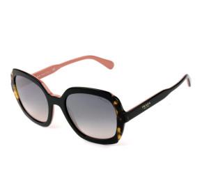 Prada SPR 16U - Preto/Turtle/Cinza Degradê Semi-Espelhado 5ZW-GR0 54mm - Óculos de Sol