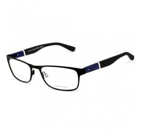 Tommy Hilfiger TH1284 - Preto Fosco/Azul  FO3 56mm - Óculos de Grau