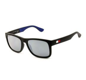 Tommy Hilfiger TH1556/S - Preto Fosco/Cinza Espelhado D51T4 56mm - Óculos de Sol