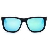 Ray Ban Justin RB4165 - Preto Fosco/Azul Espelhado 622/55 51mm - Óculos de Sol