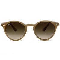 Ray Ban Round RB2180 - Bege Translúcido/Marrom Degradê 6166/13 49mm - Óculos de Sol