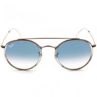 Ray Ban Round Ponte Dupla RB3647N - Dourado/Azul Degradê 9068/3F 51mm - Óculos de Sol