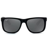 Ray Ban Justin RB4165L - Preto Fosco/Cinza Espelhado 622/6G 55mm - Óculos de Sol