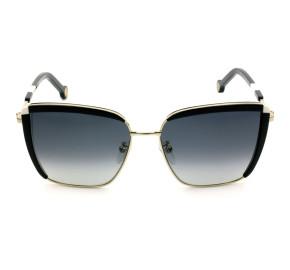 Carolina Herrera SHE148 - Preto Branco/Cinza Degradê 0300 57mm - Óculos de Sol