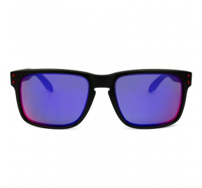 Oakley Holbrook 9102L - Preto Fosco/Vermelho Espelhado 36 55mm - Óculos de Sol