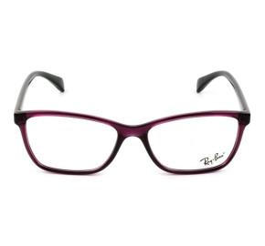 Ray Ban Gatinho RB7108L -  Roxo Translúcido/Preto 5445 55mm - Óculos de Grau