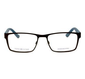 Tommy Hilfiger TH1420 - Preto Fosco/Azul VXS 52mm - Óculos de Grau